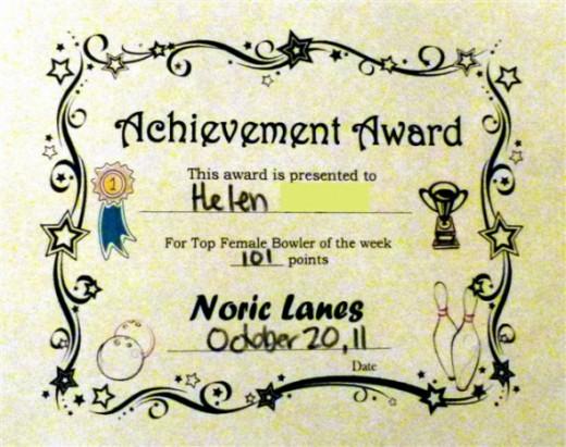 Mum's Bowling Award