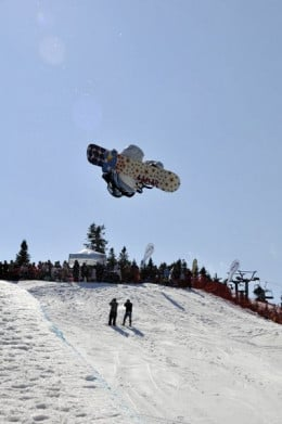 Brad Martin from Ancaster, ON competes during the finals of the half-pipe FIS Snowboard World Cup one year ago,  Feb.14, 2009