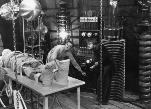 "Creating Frankenstein in the laboratory. Colin Clive & Dwight Frye in ""Frankenstein"", 1931"