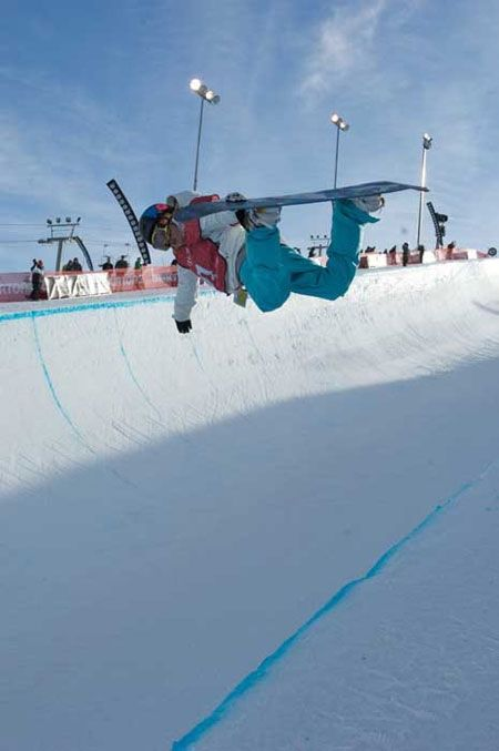 Taylor Palmer demonstrates the winning form in the halfpipe that led to her selection to the Canadian women's snowboarding team.