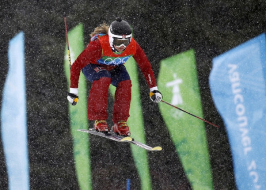 Hedda Berntsen of Norway taking a jump.