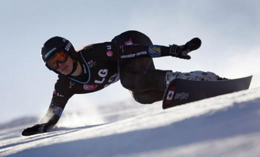 Caroline Calvé of Lachine, Que. competes during the women's Snowboard Parallel Giant Slalom FIS World Cup competition in Stoneham, Jan. 24, 2010.Photograph by: Mathieu Belanger, Reuters