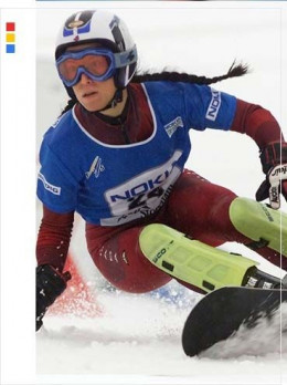 Alexa Loo of Richmond, B.C. has been with the Canadian National Snowboard Team since 1998.  She was the first woman to compete for Canada in the Parallel Giant Slalom event at the 2006 Olympics.