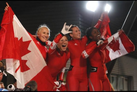 Kaillie Humphries of Calgary, Alberta and Heather Moyse of Summerside PEI took the Olympic Gold by racing down the Goldrush Trail Feb. 24, 2010