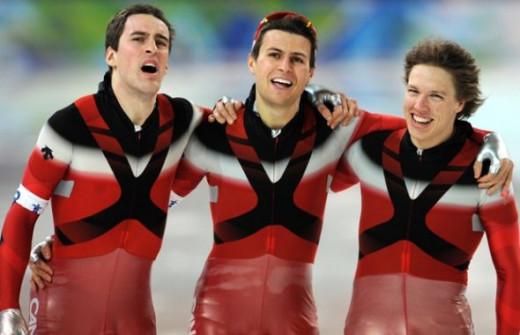 Gold - Men's Team Pursuit - Denny Morrison, Lucas Makowsky and Mathieu Giroux.