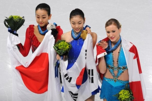 Women's Figure Skating - (L-R) Mao Asada of Japan-Silver, Kim Yu-na of S.Korea-Gold & Joannie Rochette of Canada - Bronze medal.