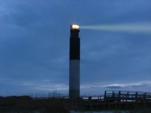 The bright Oak Island light!