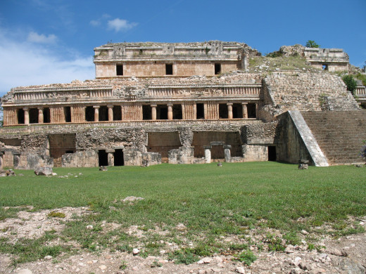 Closer view of main structure at Sayil