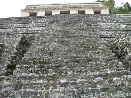 Standing at the base of the pyramid looking up