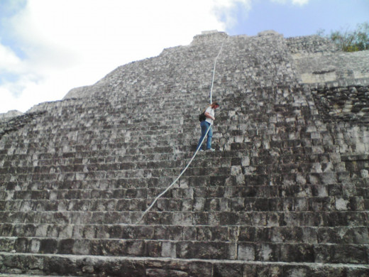 Me climbing up to the top of the pyramid of Becán