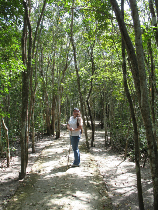 Me following a pathway through the trees as we leave Xpuhil