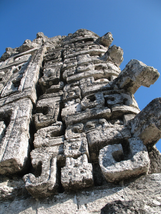 Close up details of rock carvings at Chicaná
