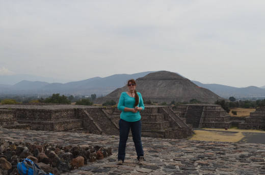 Me by the pyramid of the moon with pyramid of the sun in background. 2014