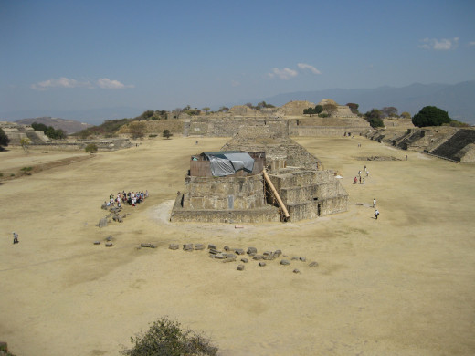 View over Monte Alban courtyard