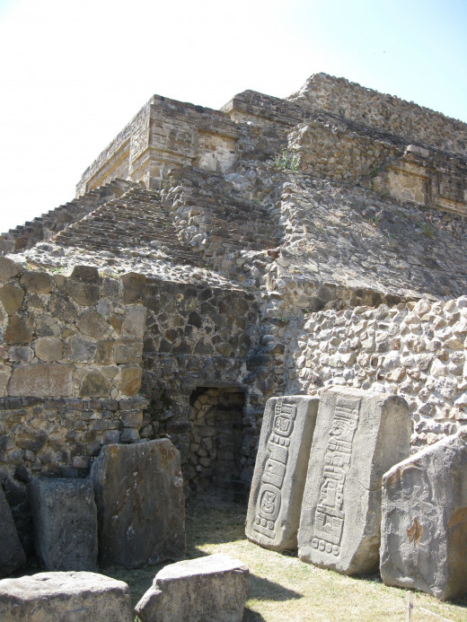 Structure and stone carvings at Monte Alban