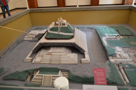 A scale model at the museum near the pyramid that depicts the site as it is beneath the hillside and the surrounding ancient structures above ground.