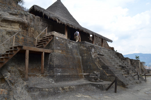 The ancient temple with wooden steps constructed for accessibility.