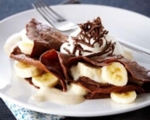 Chocolate Quinoa Crepes with Bananas