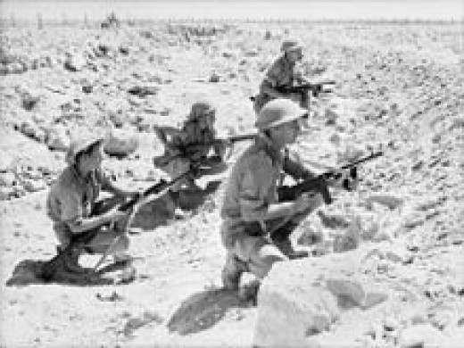 Aussie soldiers in a trench