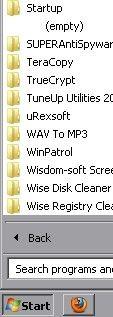 Windows 7 Startmenu Startup folder in Start menu