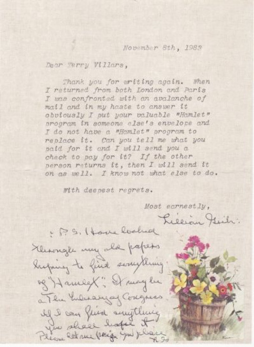 Letter Lillian Gish Sent to Me in Response to My Letter Telling Her the Envelope Was Empty