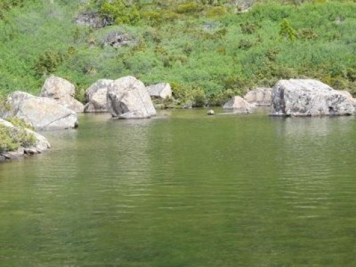 Beautiful coloured waters of the tarns