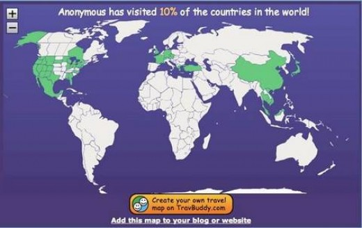 """Countries Visited Map"""