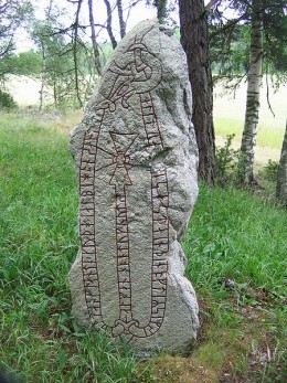 A runestone in Vasby, Sweden, which records the Viking owner's successful collection of a share of the Danegeld.