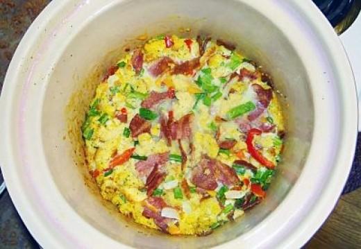 Crockpot Veggie Bacon Breakfast Bake