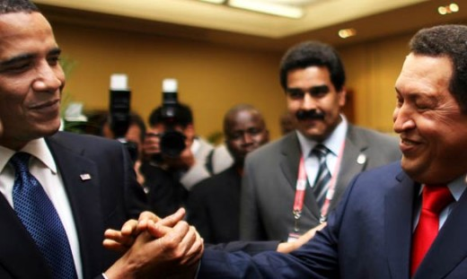 President Obama shaking hands with Venezuelan dictator Hugo Chavez.