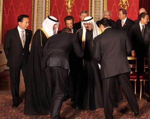 President Obama bowing to Saudi King Abdullah.