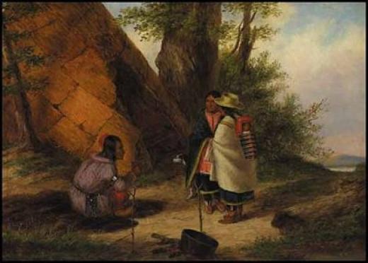 Cornelius Krieghoff 1850 Teepee Painting