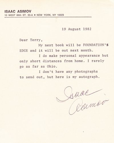 Letter Sent to Me in 1982 by Isaac Asimov (1920-1992)