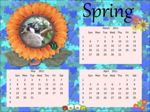 Spring calendar from a template with mods