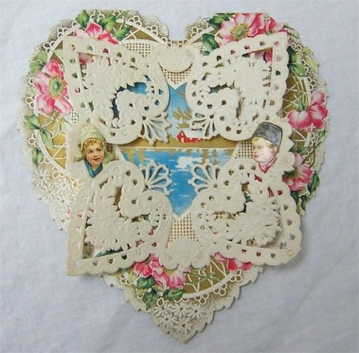Late 1800's Die Cut Valentine of a Heart
