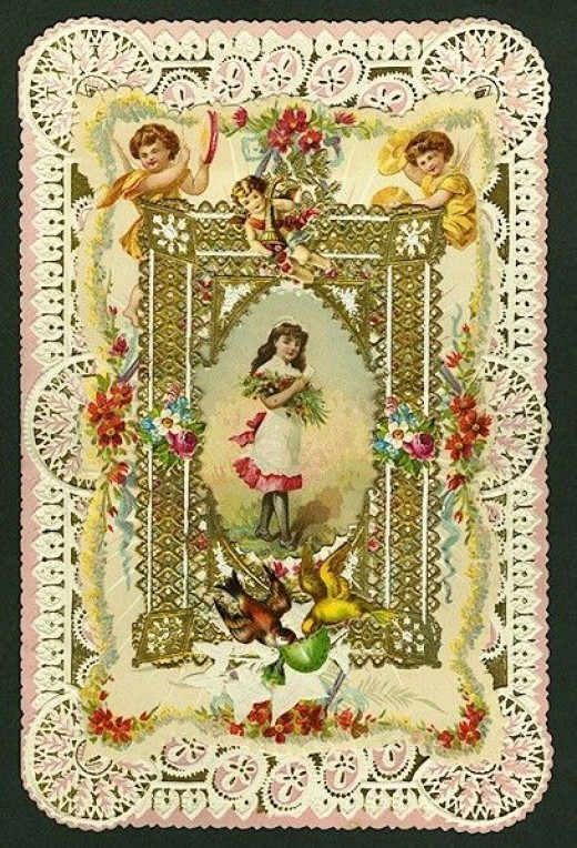 1899 Valentine with Angels, Birds and Flowers