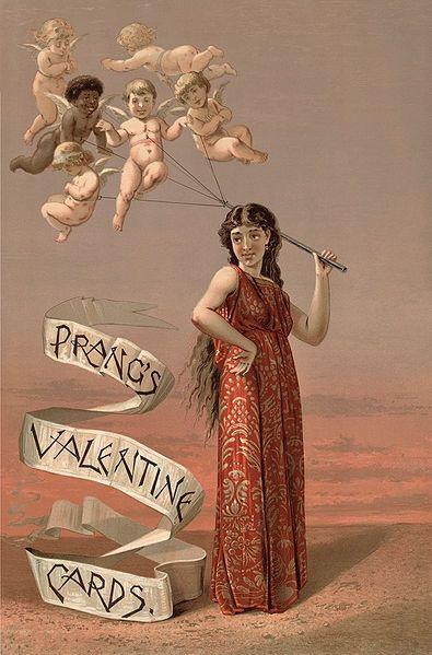 1900's Prangs Card Lady with Cherubs