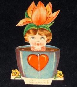 1920 Mechanical Valentine Woman in Vase