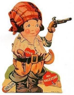 1920 Mechanical Valentine Woman with gun