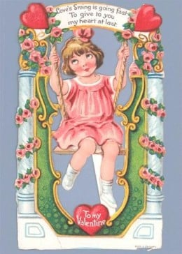 1920's Valentine of a Girl on a Swing