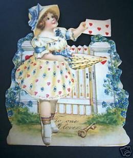 1920's Valentine of a Girl in a Fancy Dress