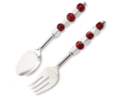 Beaded Serving Set  -beautiful  -envy of the neighborhood  -includes forked and spoon servers  -save $$$ when ordered as a set