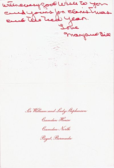 Christmas Card from William Stephenson - The Spy Who was Thought to be the Basis For James Bond