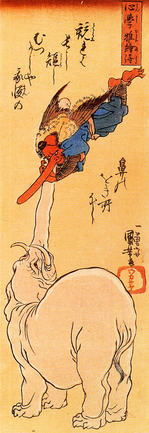 Elephant catching a flying tengu. Image in public domain.