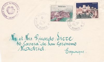 Envelope Cover from Princess Grace to Mr. and Mrs. Ricardo Sicre