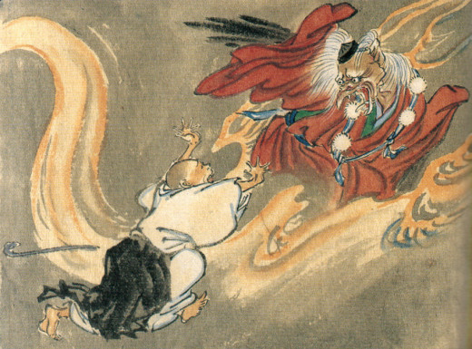 A Tengu and a Buddhist monk by Kawanabe Kyosai. Image in public domain and PD-23 in the United States, published before 1923.