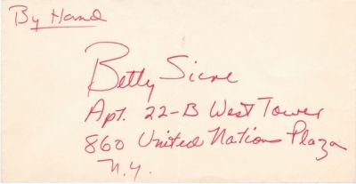 """Envelope from Frank Sinatra (in his hand) to """"Betty"""""""