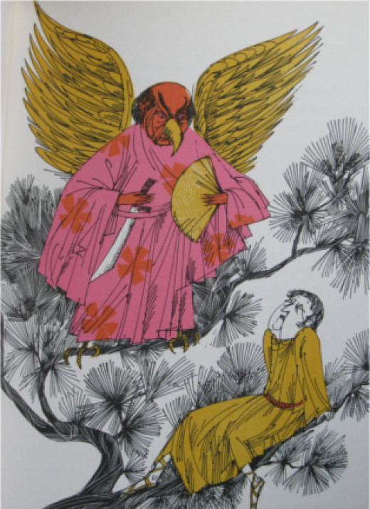 Bored Tengu by Don Bolognese from 'Dragons, Unicorns and Other Magical Beasts'.  Photo is writer's own.