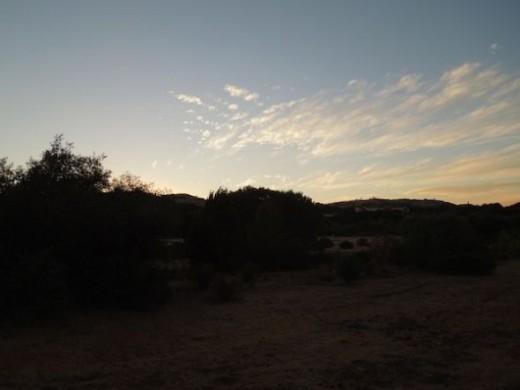 Scene 1, sunset setting.