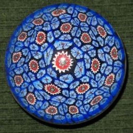 A Millefiori glass paperweight